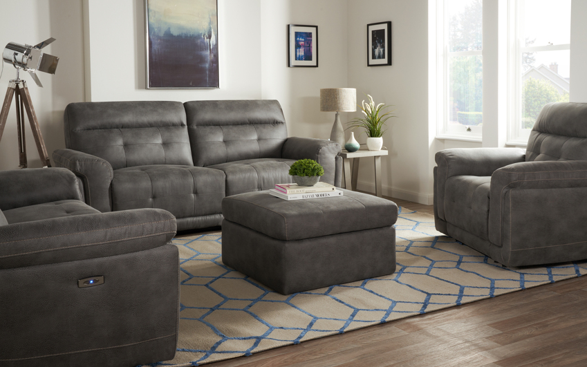 Endurance Pepe 3 Seater Power Recliner Sofa, Jet Endurance Blue/Beige Stitch, large