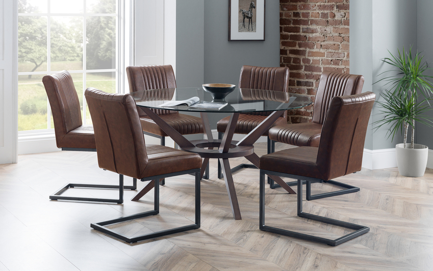 Fulham 1.4m Glass Round Dining Table & 6 Chairs