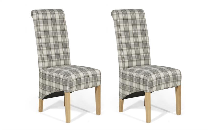 Harper Pair of Check Scroll Back Chairs, , large