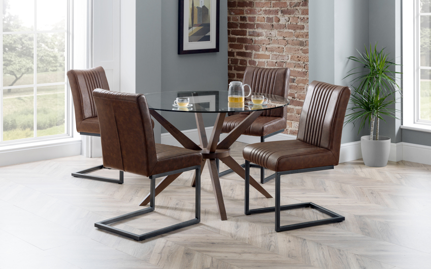 Fulham 1.2m Glass Round Dining Table & 4 Chairs