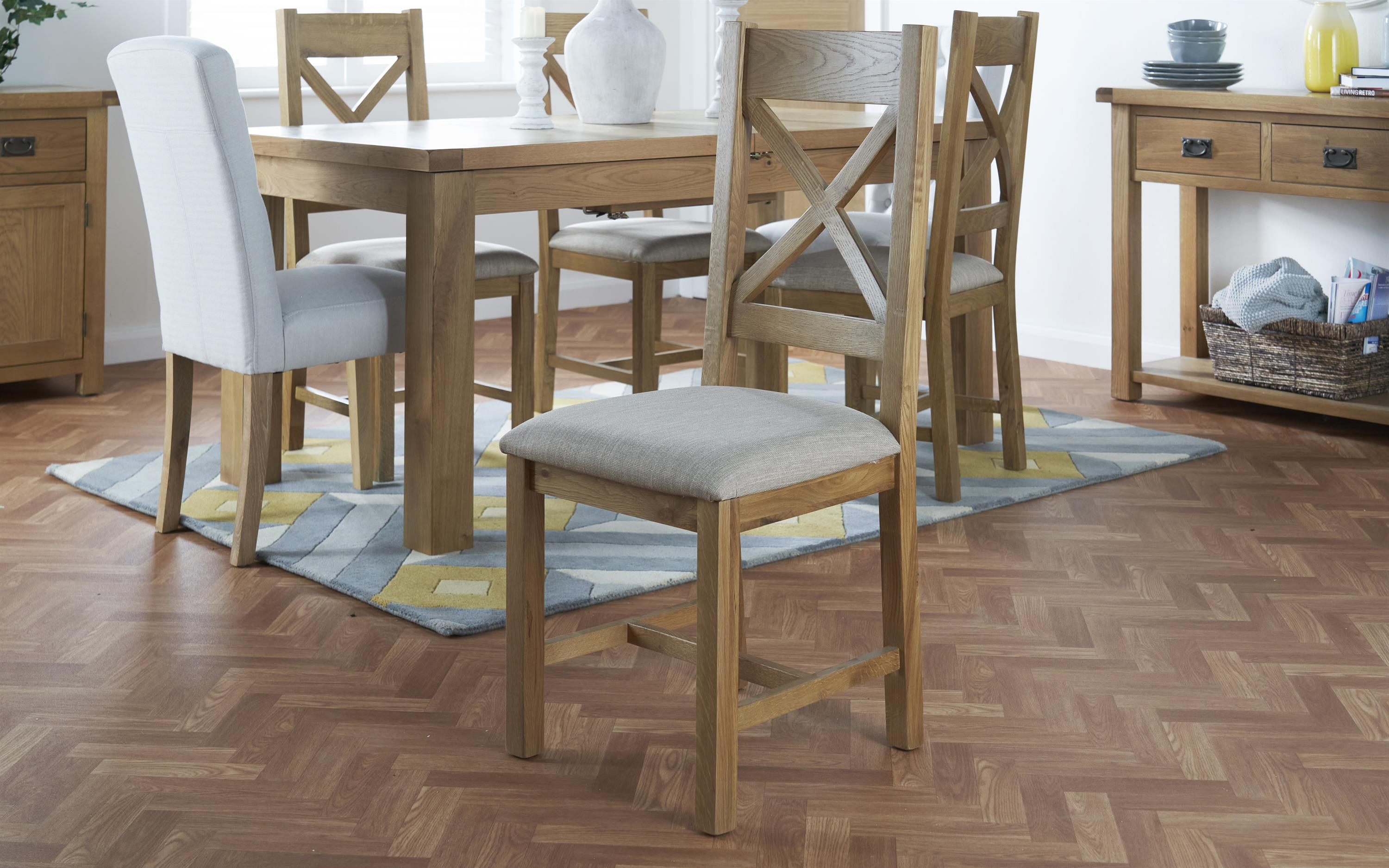 Cruz Pair of Cross Back Dining Chairs