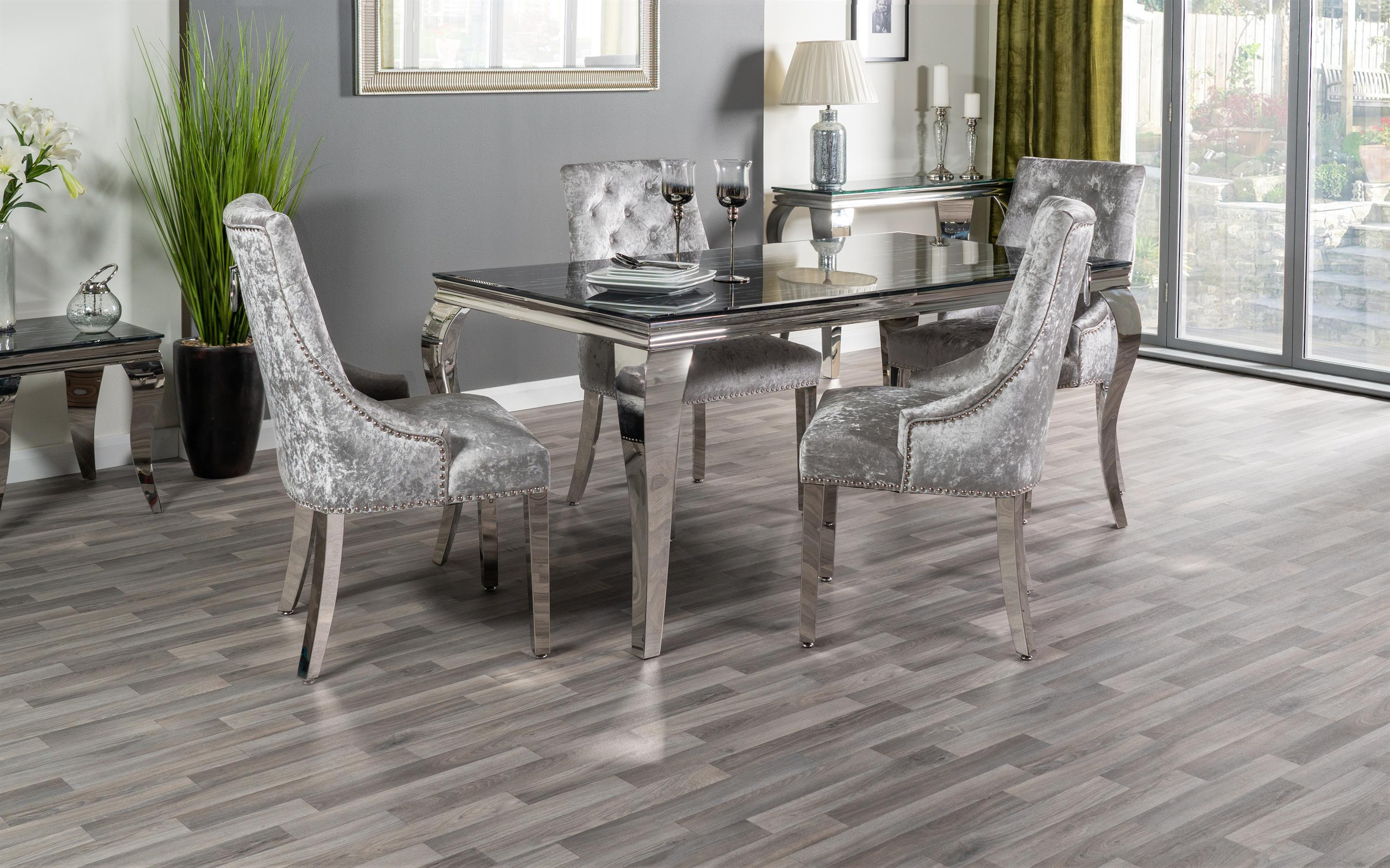 Paris Marble Effect Dining Table & 4 Silver Chairs