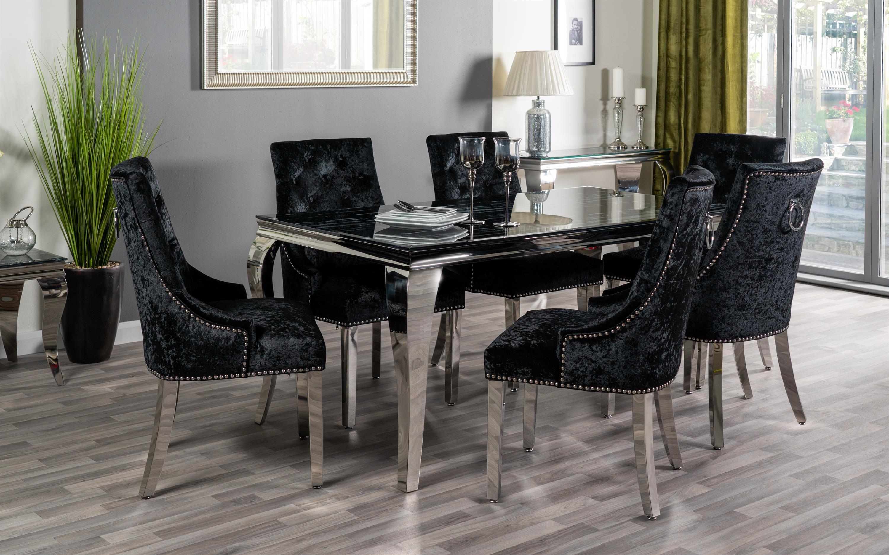 Paris Marble Effect Dining Table & 6 Black Chairs