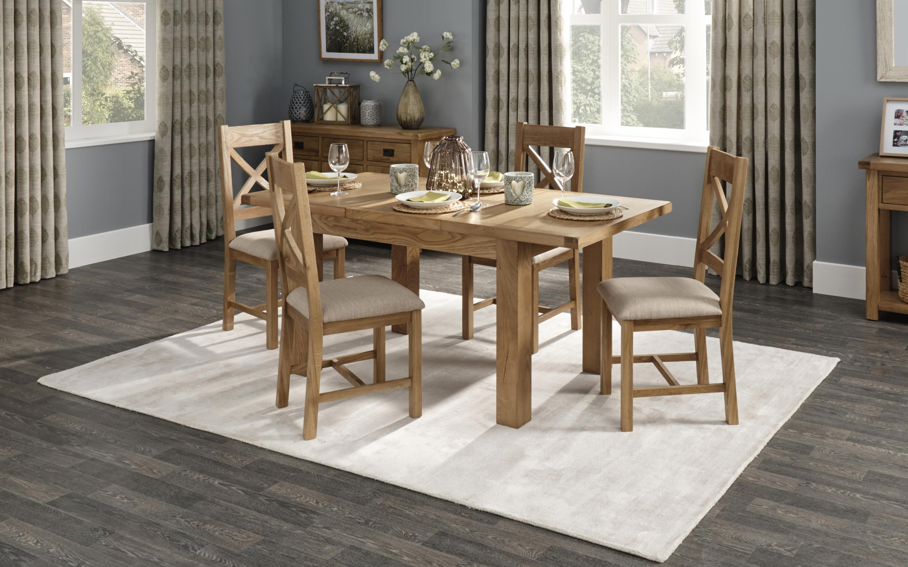 Cruz 1.25m Extending Dining Table & 4 Cross Back Chairs